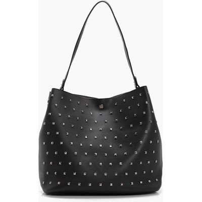 Square Stud Detail Day Bag - black
