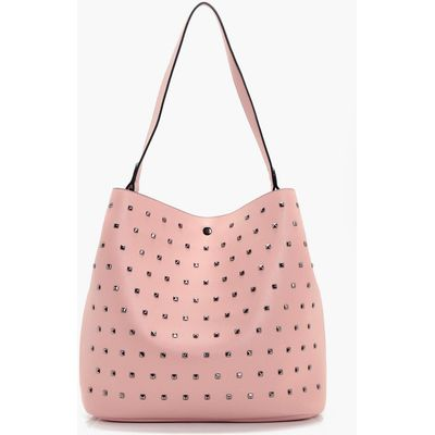 Square Stud Detail Day Bag - pink