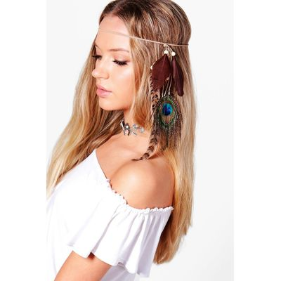 Multi Feather Hair Chain - brown