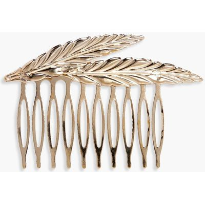 Double Feather Hair Slide - gold