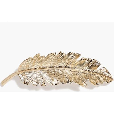 Feather Hair Slide - gold