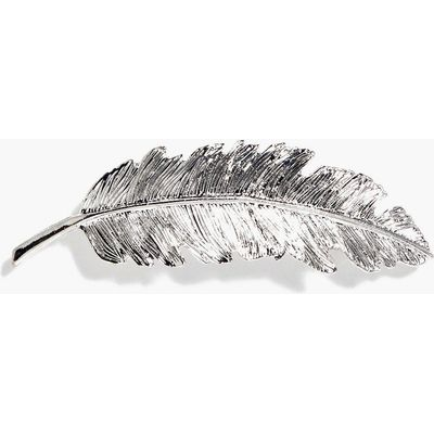 Feather Hair Slide - silver