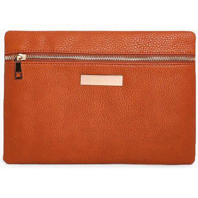 Zip Front Clutch Bag - tan