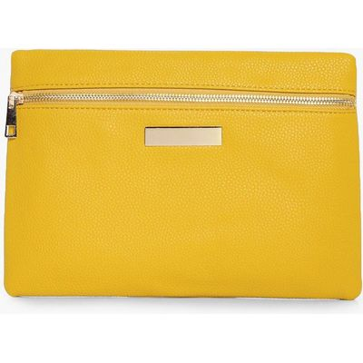 Zip Front Clutch Bag - yellow