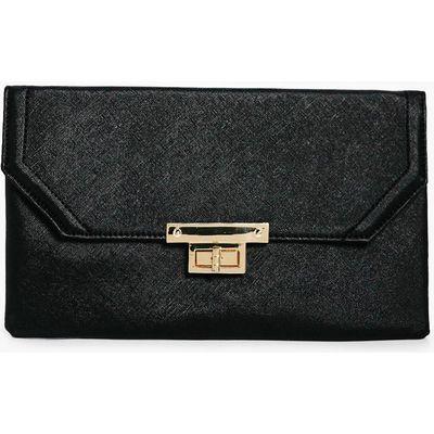 Metal Lock Detail Clutch Bag - black