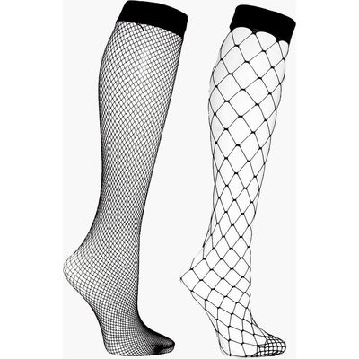 2 Pack Knee High Fishnets - black