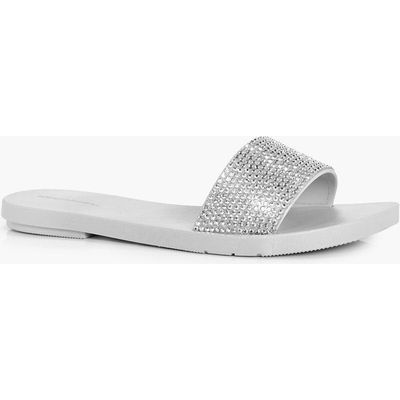 Diamante Embellished Slider - grey