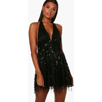 Lil Sequin Halterneck Skater Dress - black