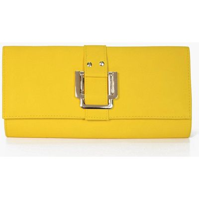 Double Square Fitting Clutch Bag - yellow