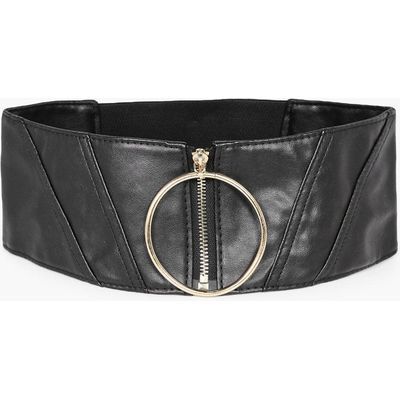Oversized Ring & Zip Waist Belt - black
