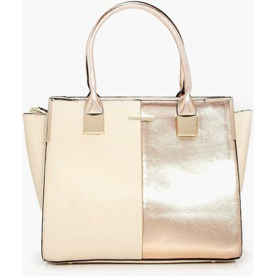 Rose Panelled Structured Day Bag - rose