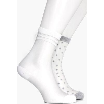 Shimmer Mesh Spot & Stripe Sock 2 Pack - multi