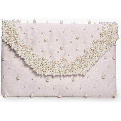 Suedette Faux Pearl Clutch Bag - nude