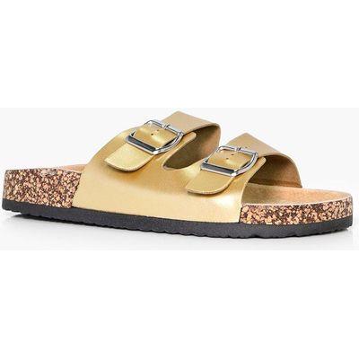 Double Buckle Slider Footbed Sandal - gold