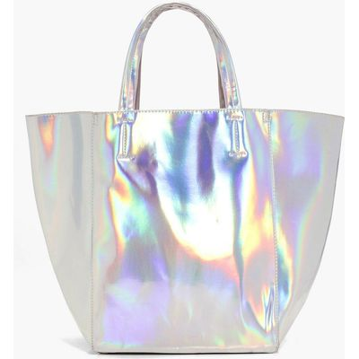 Holographic Shopper Day Bag - silver