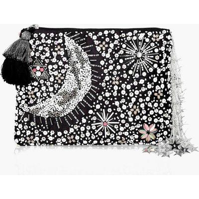Embellished Moon & Stars Clutch Bag - black