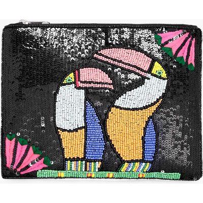 Toucan Bird Embellished Clutch Bag - black