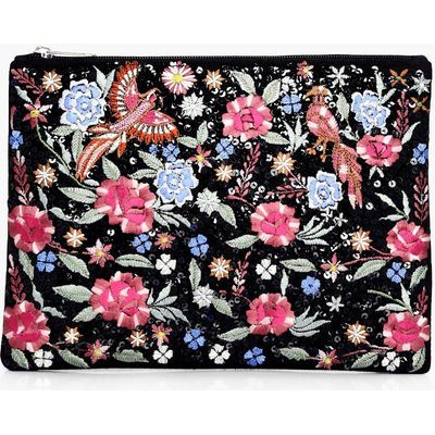 Embroidered Bird Floral Clutch Bag - multi
