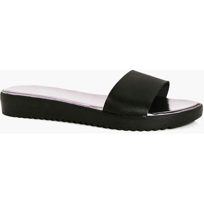 Leather Cleated Slider - black