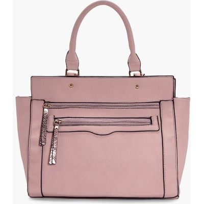 Metallic Zip Pull Day Bag - blush