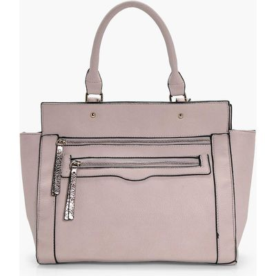 Metallic Zip Pull Day Bag - natural