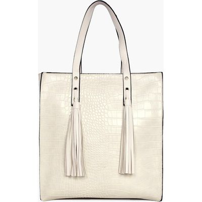 Mock Croc Shopper Day Bag - beige