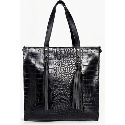 Mock Croc Shopper Day Bag - black