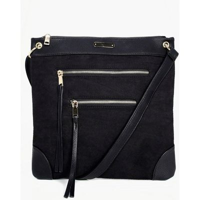 Zip Detail Messenger Day Bag - black