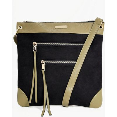 Zip Detail Messenger Day Bag - khaki