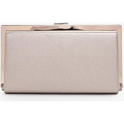 Metallic Framed Box Clutch Bag - gold