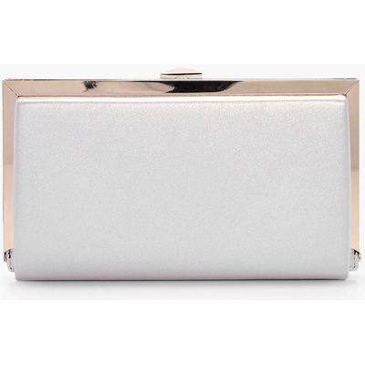 Metallic Framed Box Clutch Bag - pearl