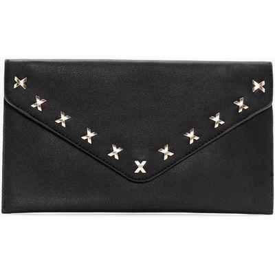 Cross Detail Envelope Clutch Bag - black