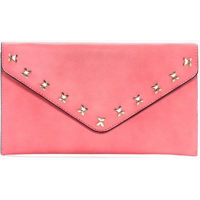 Cross Detail Envelope Clutch Bag - rose