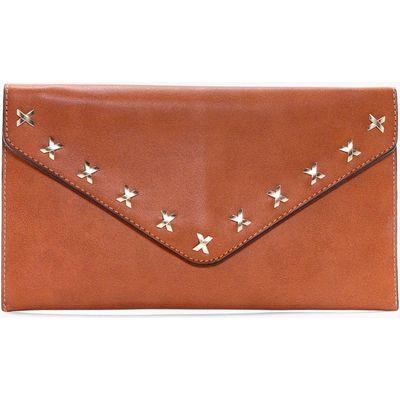 Cross Detail Envelope Clutch Bag - tan