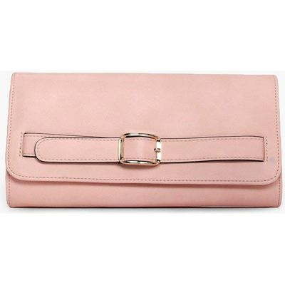 Buckle Detail Clutch Bag - blush