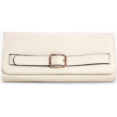 Buckle Detail Clutch Bag - white