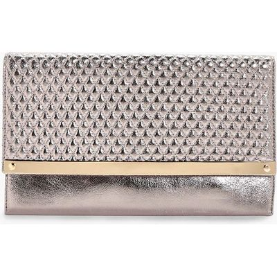 Quilted Metal Bar Clutch Bag - pewter