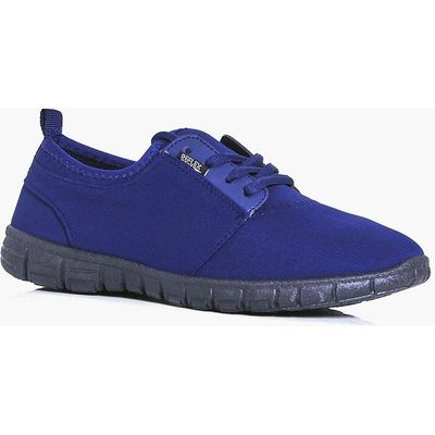 Jersey Lace Up Trainer - navy