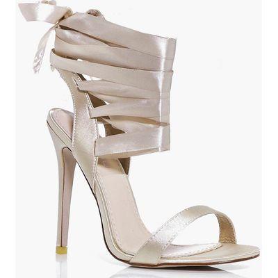 Ribbon Lace Tie Sandal - champagne