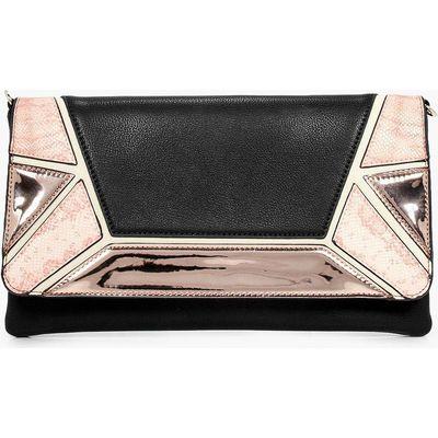 Colour Block Metallic Clutch Bag - black