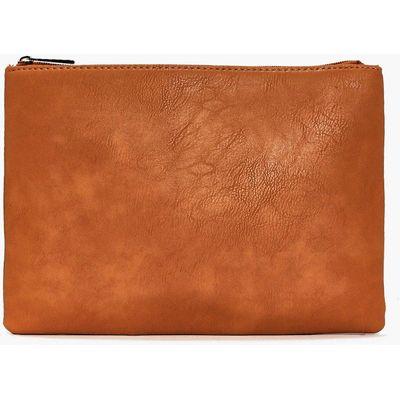 Zip Top Clutch Bag - tan