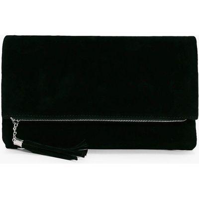 Suedette Fold Over Clutch Bag - black