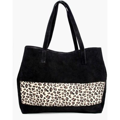 Boutique Suede Animal Panel Day Bag - black
