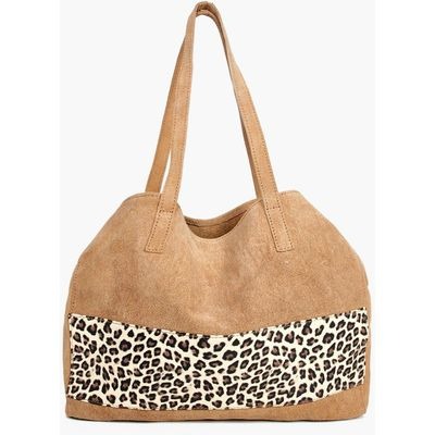 Boutique Suede Animal Panel Day Bag - tan