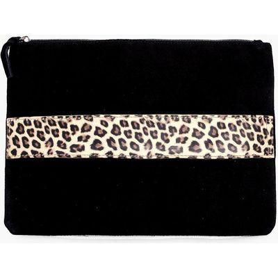 Boutique Suede Animal Strap Clutch Bag - black