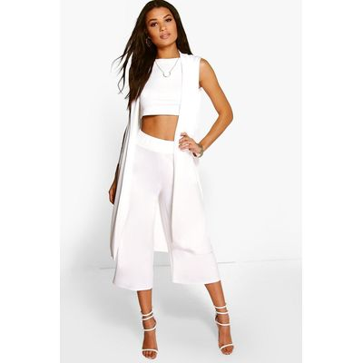 3 Piece Crop Culotte & Duster Co-Ord Set - ivory