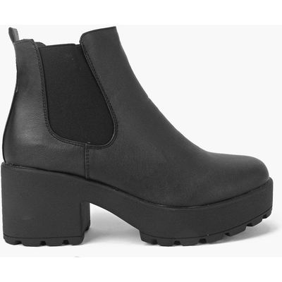 Black Heel Cleated Chelsea Boot - black