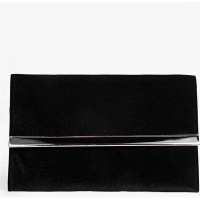 Suedette Metal Bar Clutch Bag - black