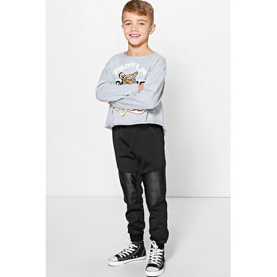 Leather Look Patch Joggers - black