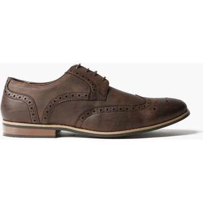 Brogues with Perforated Detailing - brown
